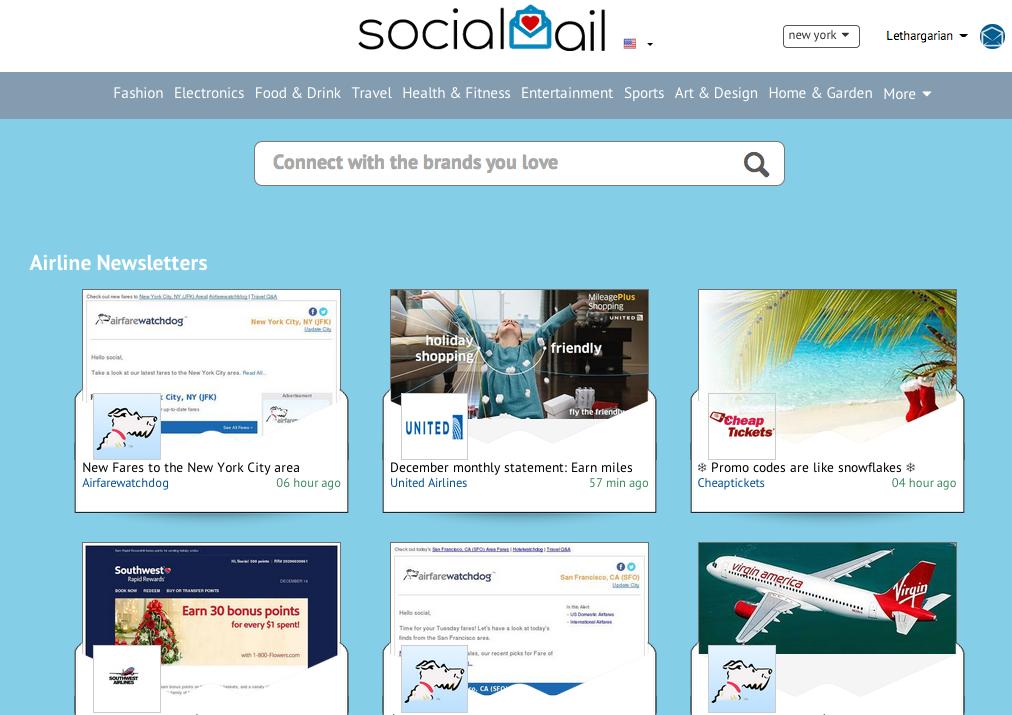 Socialmail Example Screenshot